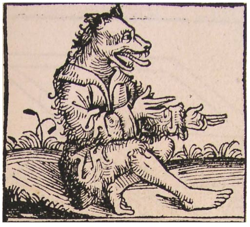 A cynocephalus. From the Nuremberg Chronicle, 1493