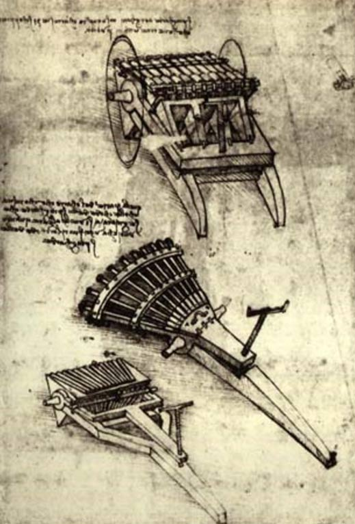 Sketch by Leonardo da Vinci of his concept of a multi-barrel gun