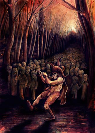 One of the darker themed representations of the Pied Piper of Hamelin