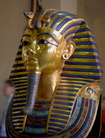 The iconic death mask and coffin of Egyptian Pharaoh Tutankhamun