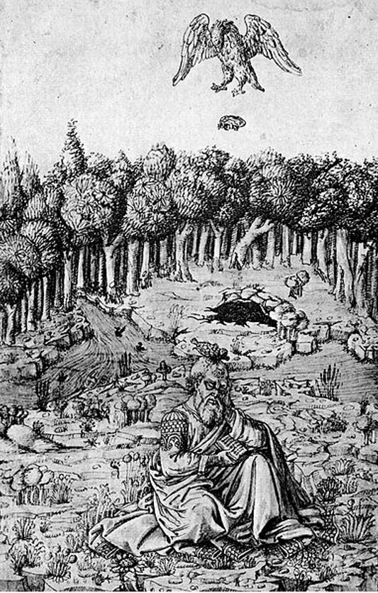Illustration of the death of Aeschylus in the 15th century Florentine Picture Chronicle by Maso Finiguerra.