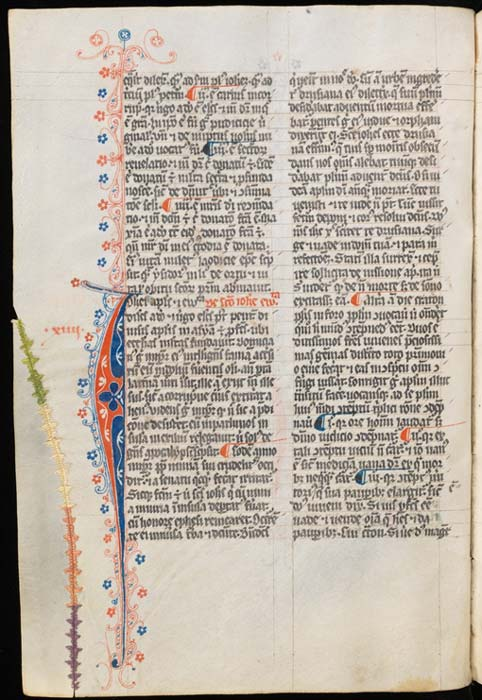A decorative parchment page that has also been mended with colorful embroidery. Fribourg/Freiburg, Bibliothèque cantonale et universitaire/Kantons- und Universitätsbibliothek, Ms. L 34, f. 31v – Jacobus de Voragine, Legenda Aurea.