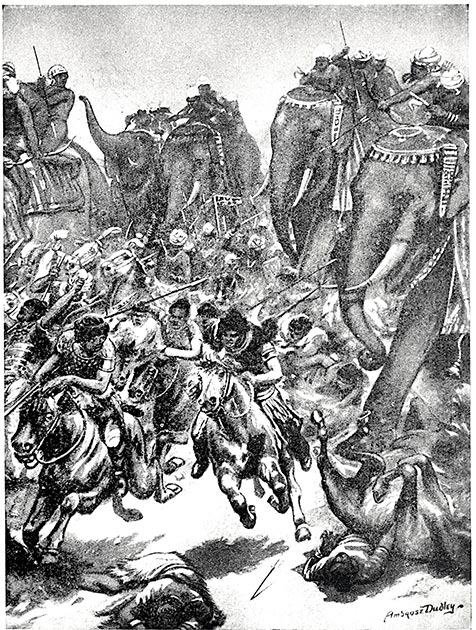 The defeat of the Whites Huns of Mihirakula by King Yashodharman at Sondani in 528 AD. (Robert Ambrose Dudley / Public domain)