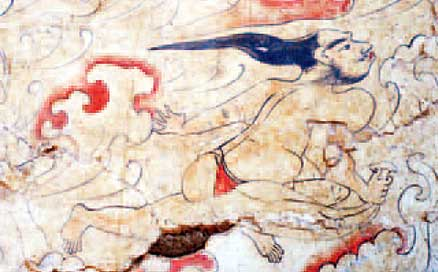 "This image shows a deity that archaeologists identify as being the ""Master of Wind,"" who is depicted wearing almost no clothes."