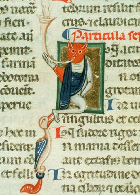 Animal or demon blowing horn, perhaps allegory of disease. In Hippocrates' Aphorismi. (c. 1300)