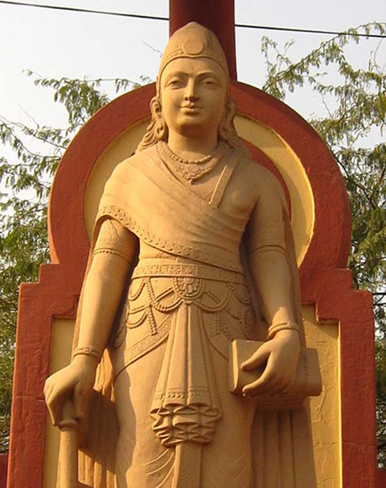 A statue depicting Chandragupta Maurya, the founder of the Maurya Empire in ancient India.