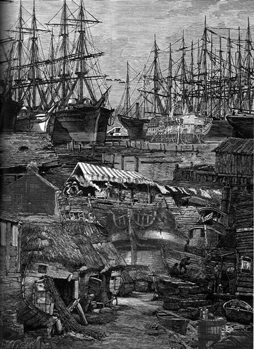 "Collage depicting ships piled into Yerba Buena cove by Satty, from ""Visions of Frisco"" edited by Walter Medeiros, Regent Press 2007."