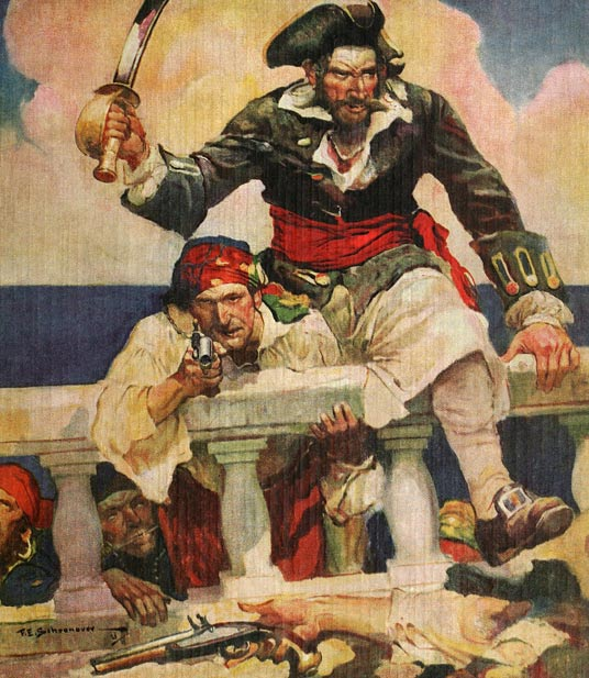"While Blackbeard has a fearsome reputation, historians argue that he in fact avoided fighting and rather used his image to create terror in his rivals. This depiction of Blackbeard and his crew boarding a ship by Frank E. Schoonover was used on the cover of the popular 1922 book ""Blackbeard, Buccaneer""."