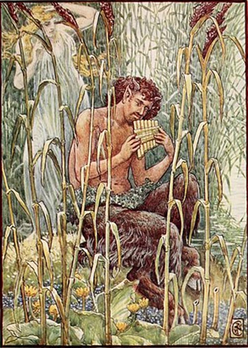 """Sweet, piercing sweet was the music of Pan's pipe"" reads the caption on this depiction of Pan (by Walter Crane)"