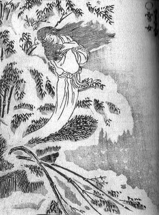 1781 depiction of Yuki-onna from the Gazu Hyakki Yakō