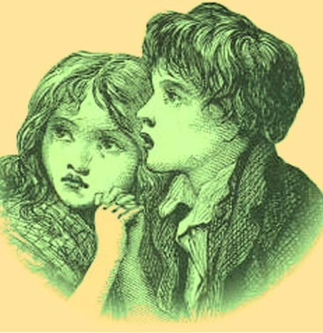 Artist's depiction of the Green Children of Woolpit