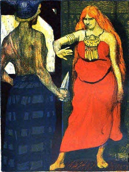 A depiction of the meeting between Skírnir and Gerðr.