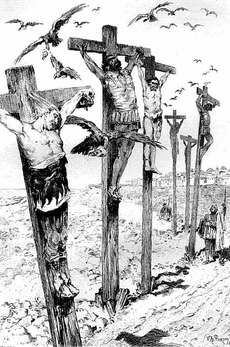 A nineteenth-century depiction of the crucifixion of rebel leaders in 238 BC, which predates the nailing to the cross of Christ by nearly 250 years!. (Victor Armand Poirson / Public domain)