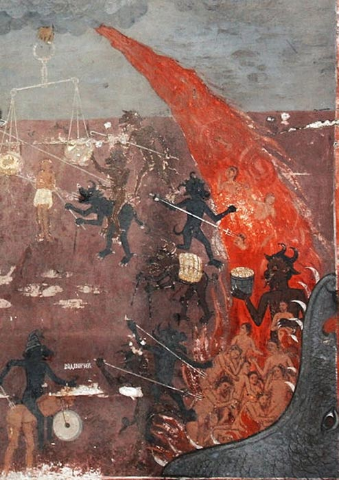 А fresco detail of Hell from the medieval church St. Nicolas in Raduil village, Bulgaria.
