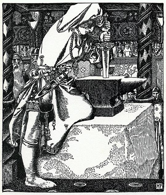 The story of Arthur drawing the sword from a stone appeared in Robert de Boron's 13th century Merlin. (John Sweeney / Public Domain)