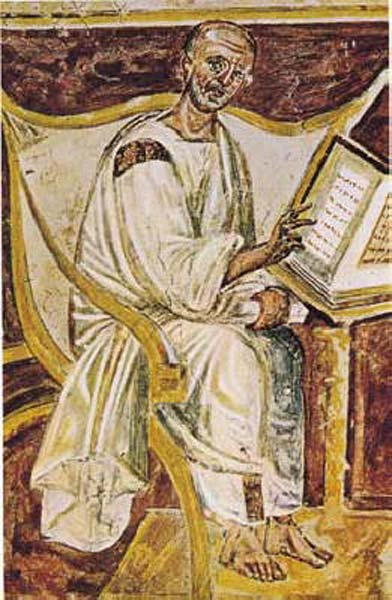 The earliest portrait of St. Augustine. (6th century fresco) Lateran, Rome.