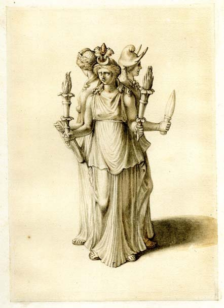 An early nineteenth-century drawing of a statuette of Hecate, with whom Ereshkigal was syncretized.