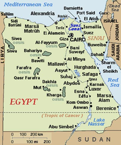 Map showing Berenice in Egypt
