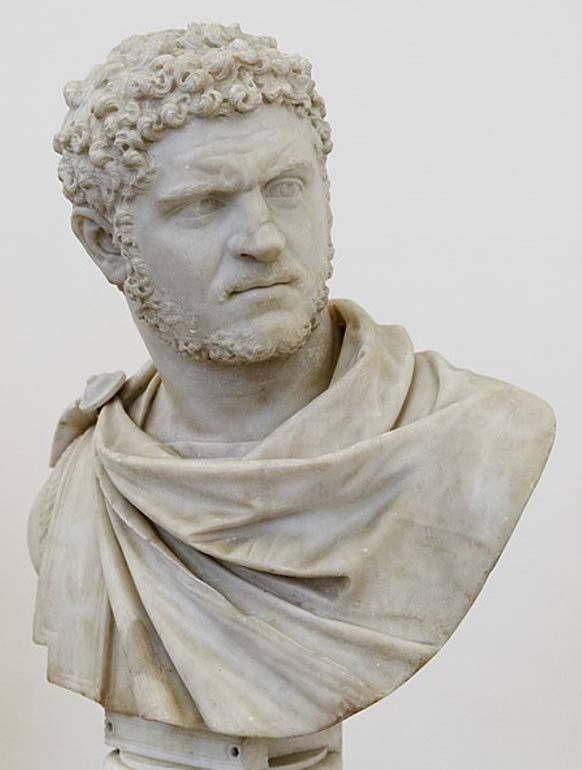 Portrait of the emperor Caracalla from a statue reworked as a bust.