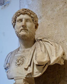 A marble bust of the Emperor Hadrian