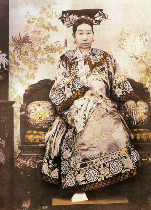 An official photographic portrait of Empress Dowager Cixi (29 November 1835 – 15 November 1908), aged around 55 years.