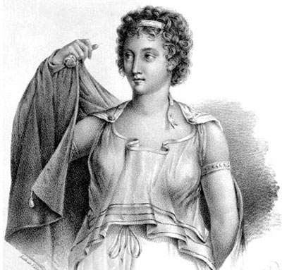 A modern engraving of Agnodice, a midwife and obstetrician