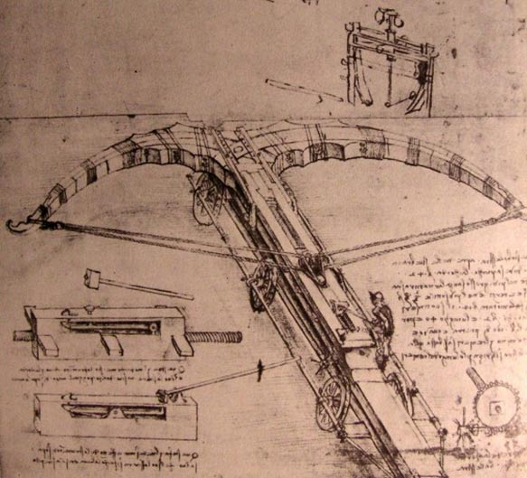 Design for an enormous crossbow by Leonardo da Vinci.