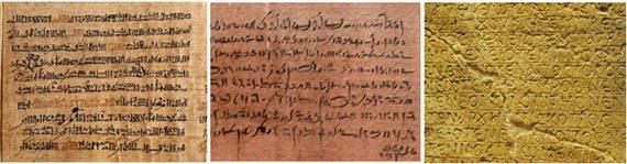 Examples of Hieratic, Demotic, and Coptic script