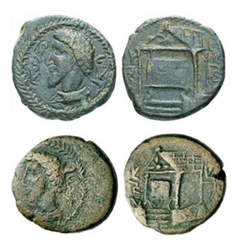 Figure 4. Two examples of the Edessan betyl 'stone', housed in a small temple. The king here is King Wa'el, the same king who wrote the inscription. (Photo credit: Forum Ancient Coins.)