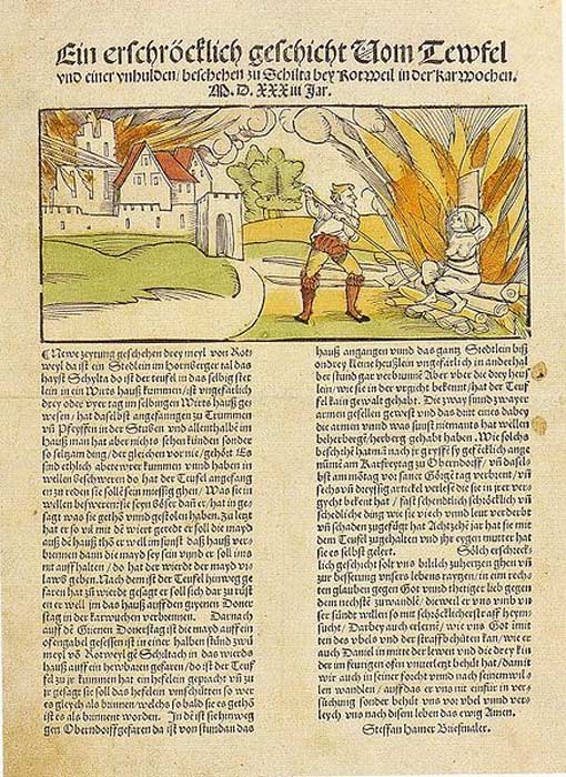 1533 account of the execution of a witch who was charged with burning the German town of Schiltach in 1531.