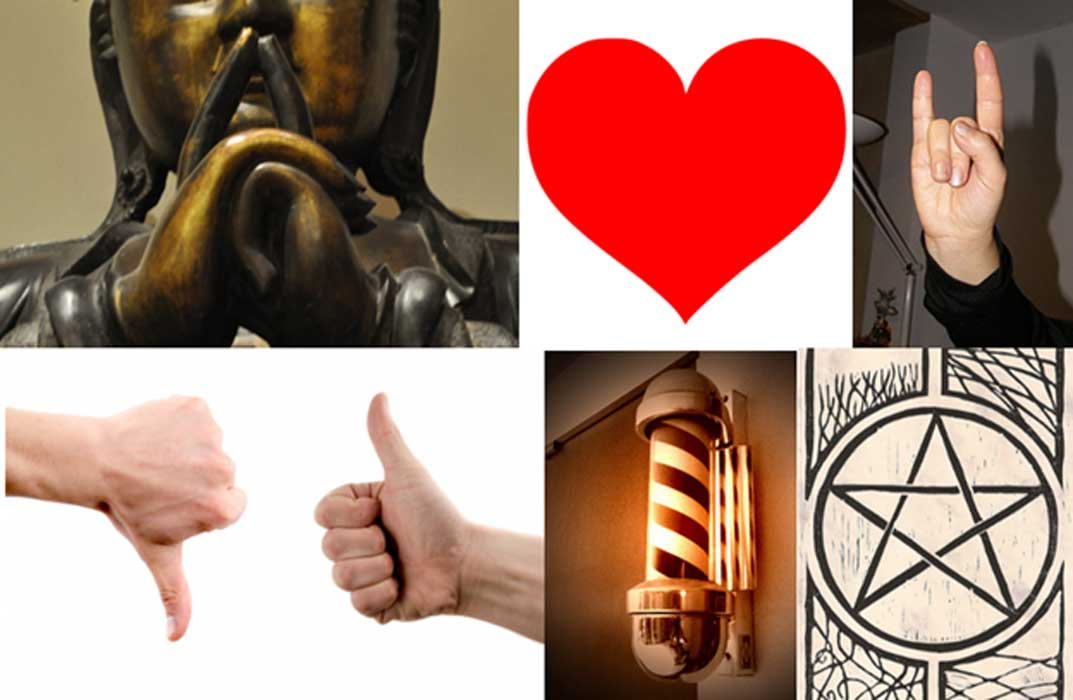 Acollection of ancient signs and symbols: Buddha's hands forming a mudra. (CC BY SA 3.0) A heart. (Public Domain) Devil's horns hand sign. (Ra Boe/CC BY SA 3.0) Thumbs up and down. (CC0) A barber's pole. (Dave Barr/CC BY SA 2.0) A pentagram. (Sam Kelly/CC BY 2.0)