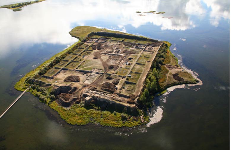1,300-year-old fortress-like structure on Siberian lake