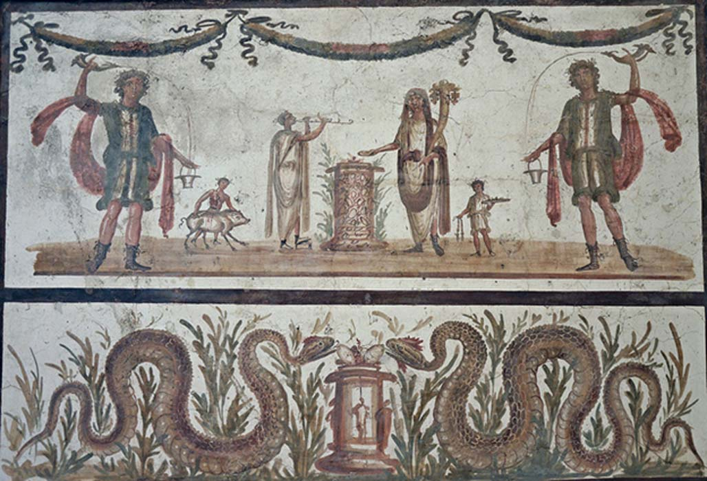 Fresco depicting two lares pouring wine from a drinking horn (rhyton) into a bucket (situla), they stand on either side of a scene of sacrifice, beneath a pair of serpents bringers of prosperity and abondance, Pompeii, Naples Archaeological Museum