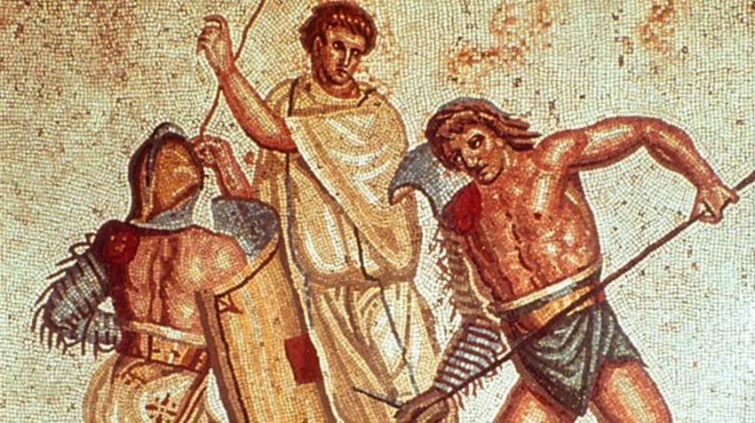A mosaic depicting gladiators