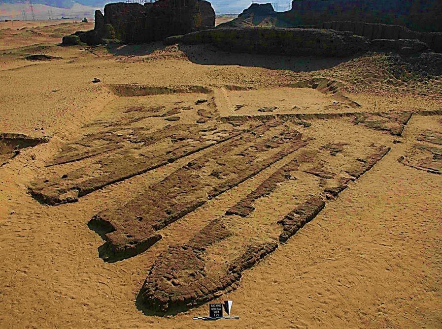 Some of the Abydos boats in their brick-built graves.