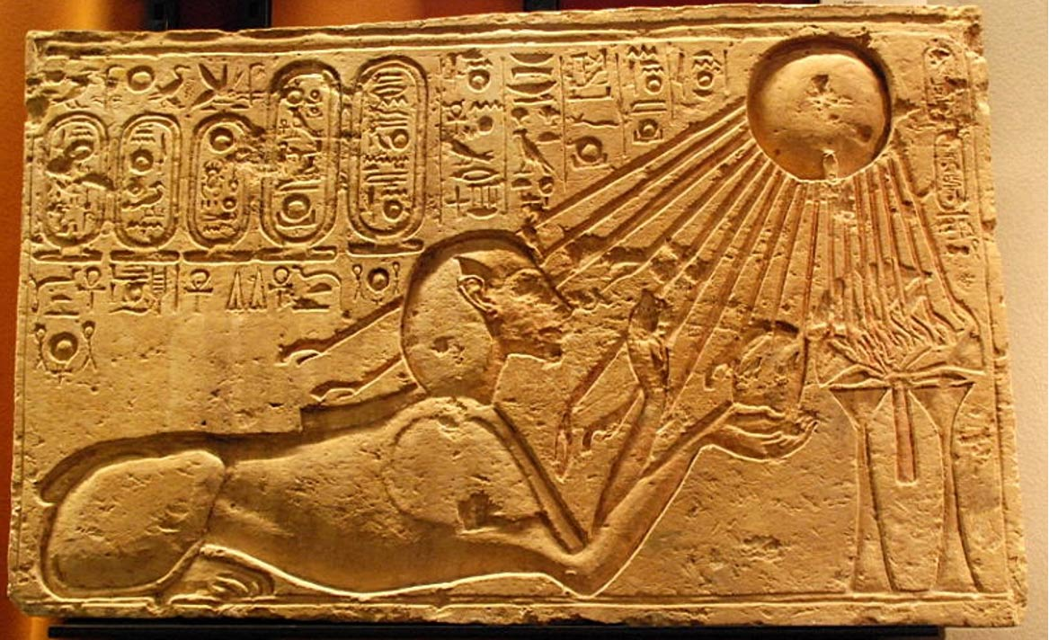 Trend Akhenaten depicted as a sphinx at Amarna solar rays bathing him