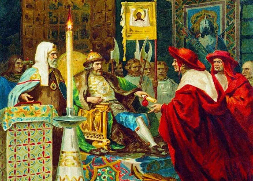 Prince Alexander Nevsky receiving papal legates. Source: Shakko / Public Domain.