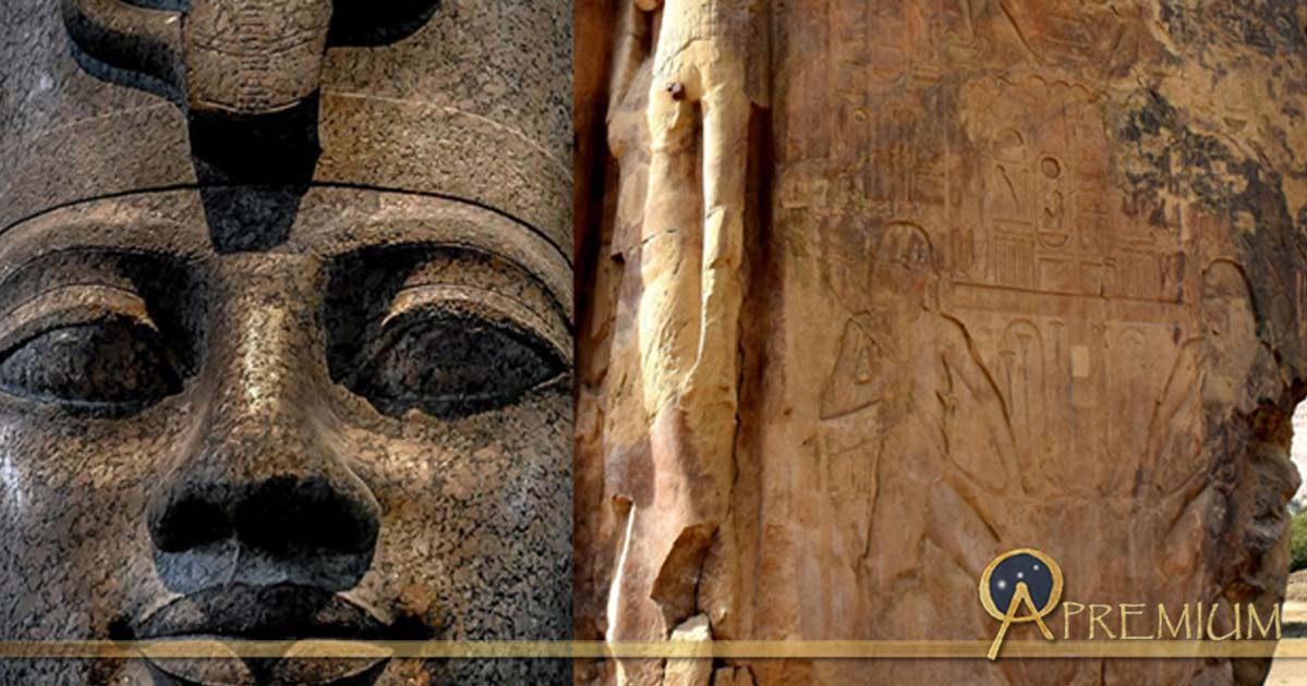 Head from a red granite statue of Amenhotep III wearing the double crown of Upper and Lower Egypt found at Karnak; side panel of one of the Colossi of Memnon shows a relief of Hapy, the Nile god, and a sculpture of Queen Tiye; design by Anand Balaji