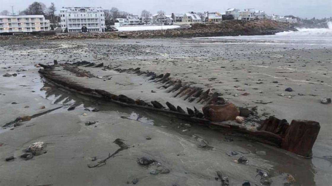 This mysterious American shipwreck is only revealed in the sands following some storms. Source: York Maine Police Department
