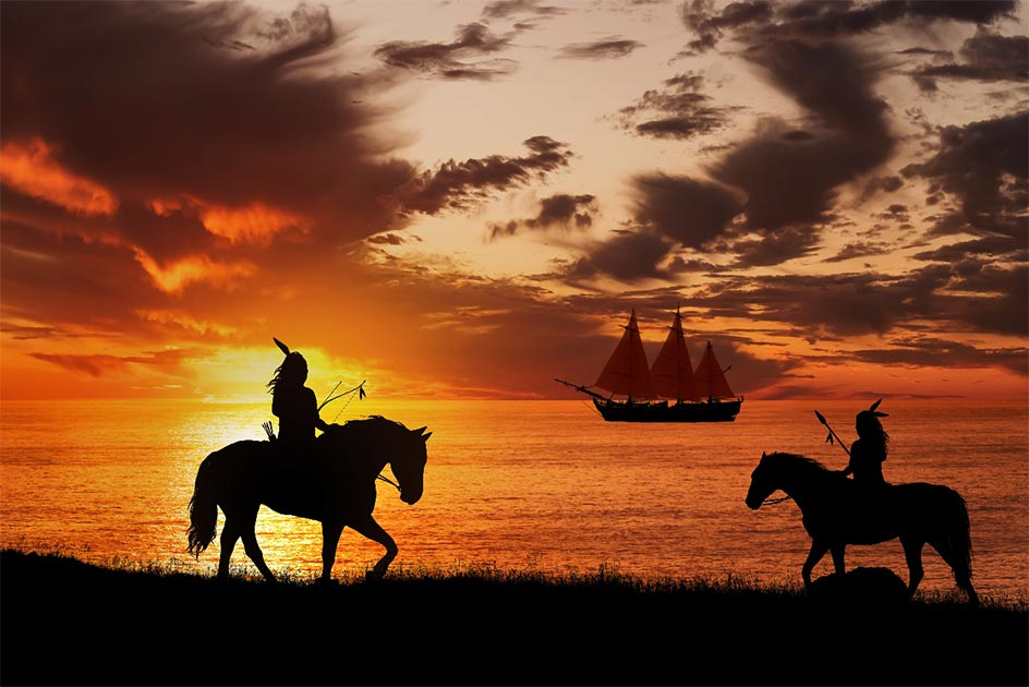 Native Americans see the arrival of an explorer's ship. Credit: ginettigino / Adobe Stock