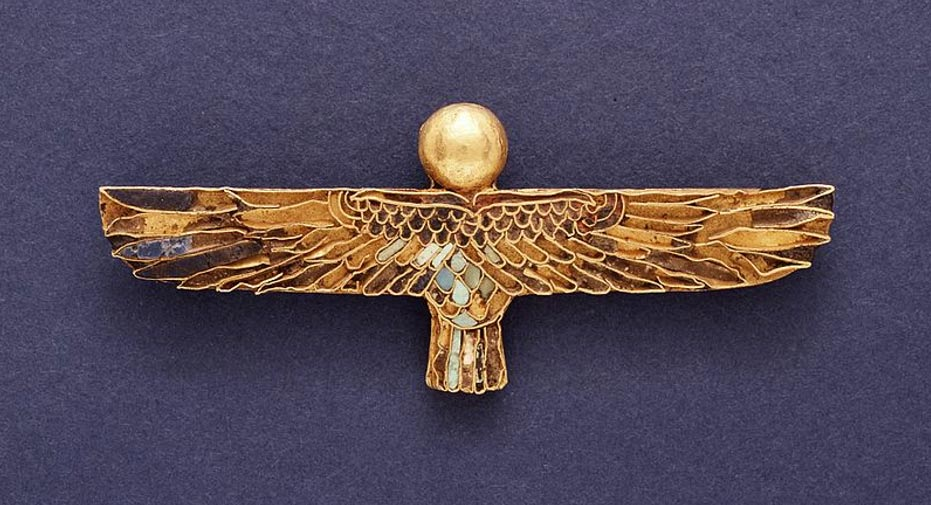 Amulet of a Ba. Egypt, Ptolemaic Period, 332-30 B.C. Jewelry and Adornments; amulets. Gold with inlays of lapis lazuli, turquoise, and steatite.