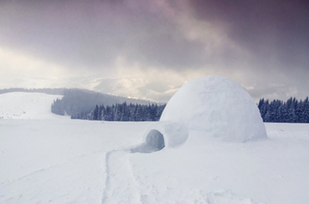 An igloo or house of made of snow for winter dwelling