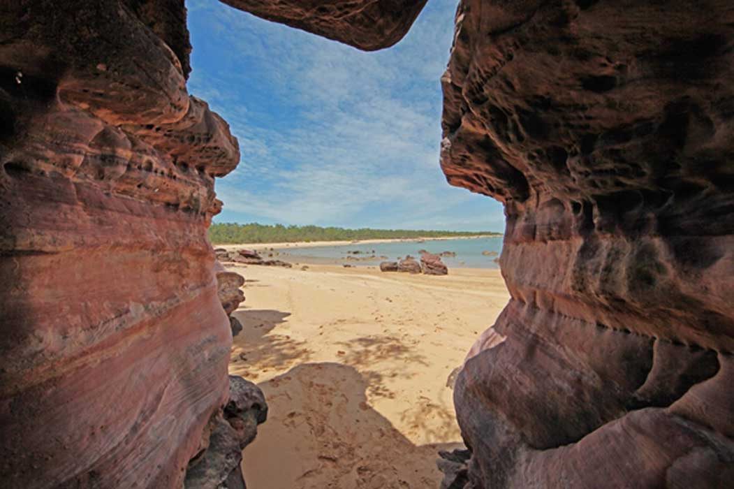 View through sacred rocks beyond Dhambala Homeland center, Elcho island.