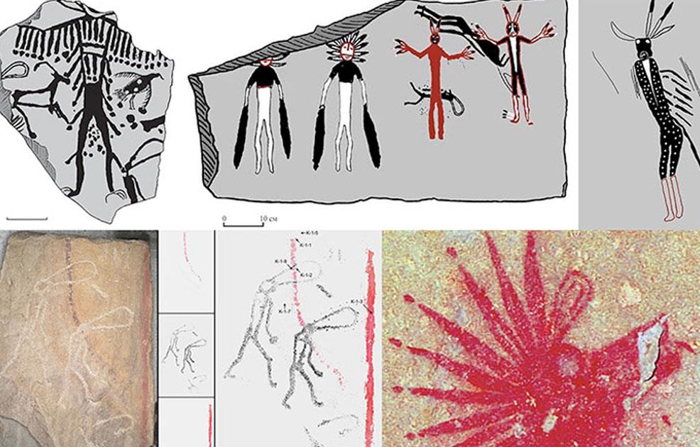 Amazing artwork was found on walls on a stone tomb in Siberia. Picture: Vladimir Kubarev/IAET SB RAS