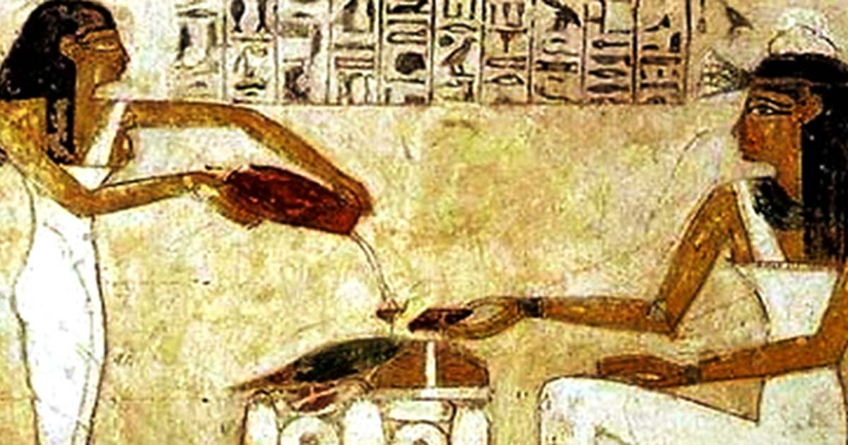 Egyptian hieroglyphics depict the pouring out of beer.