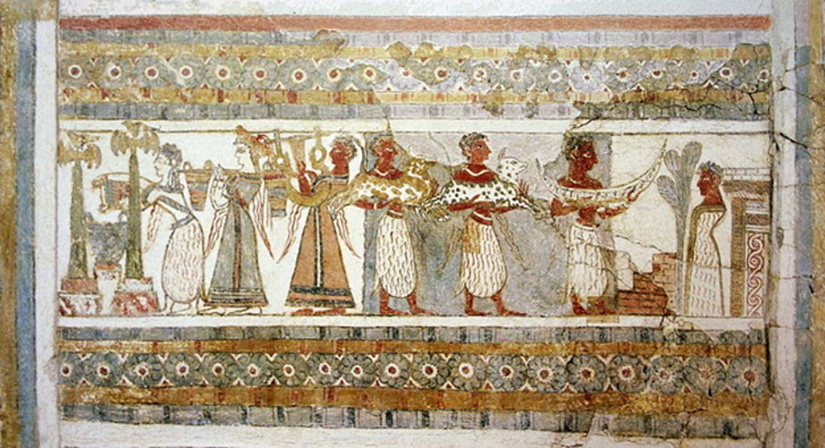Painted side of sarcophagus from Agia Triada, Crete, around 1400 BC. Painted plaster on limestone. Shows the relationship between the Minoans and Egyptians.