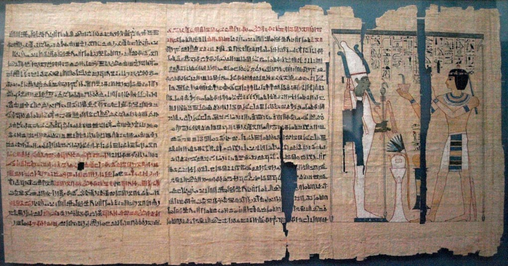 The rediscovered leather manuscript has been compared to the Egyptian Book of the Dead (pictured). Book of the Dead papyrus of Pinedjem II, 21st dynasty, circa 990-969 BC. Originally from the Deir el-Bahri royal cache.