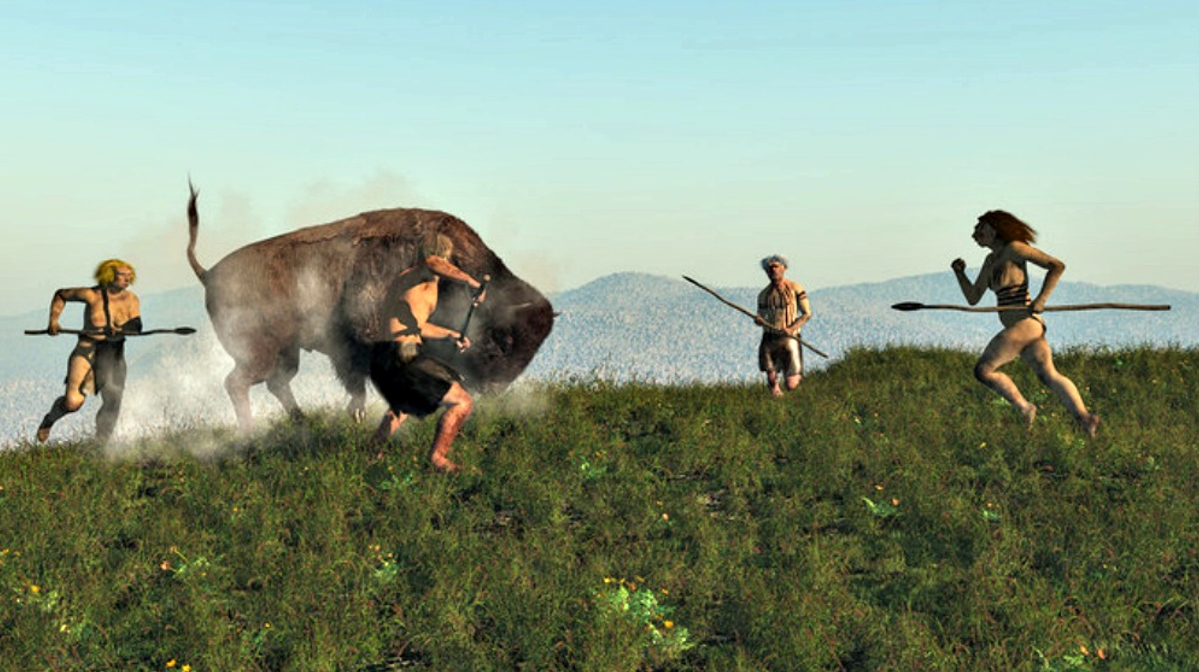 Ancient European hunters face an Uro (European bison).