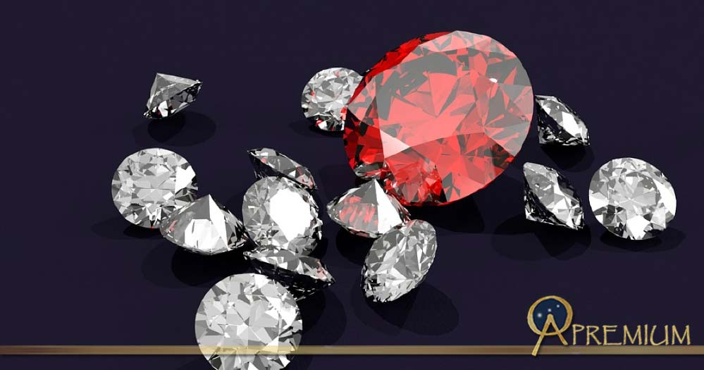 Diamonds and ruby.