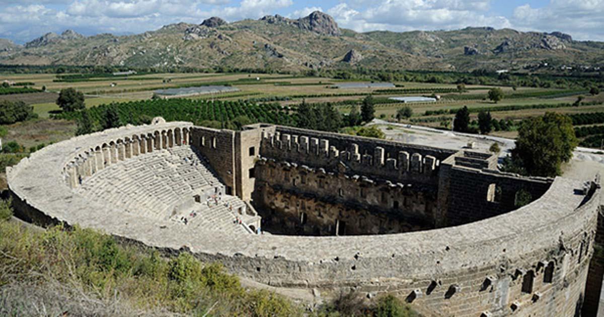 The famous Roman theater at Aspendos, Turkey.